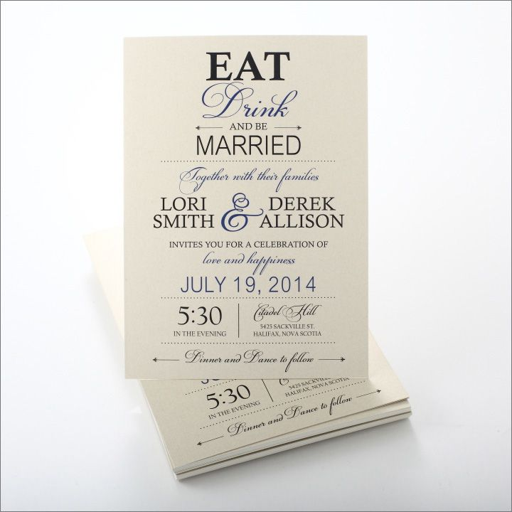 Eat Drink and Be Married Wedding Invitation from Precious ...