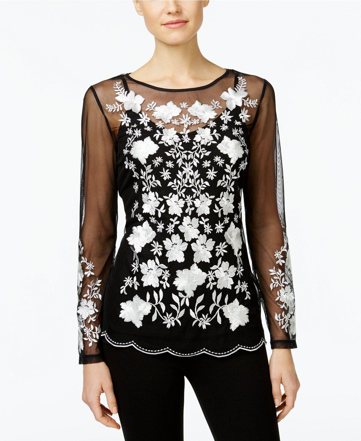 9e476e78381 INC International Concepts Petite Floral-Embroidered Illusion Top ...