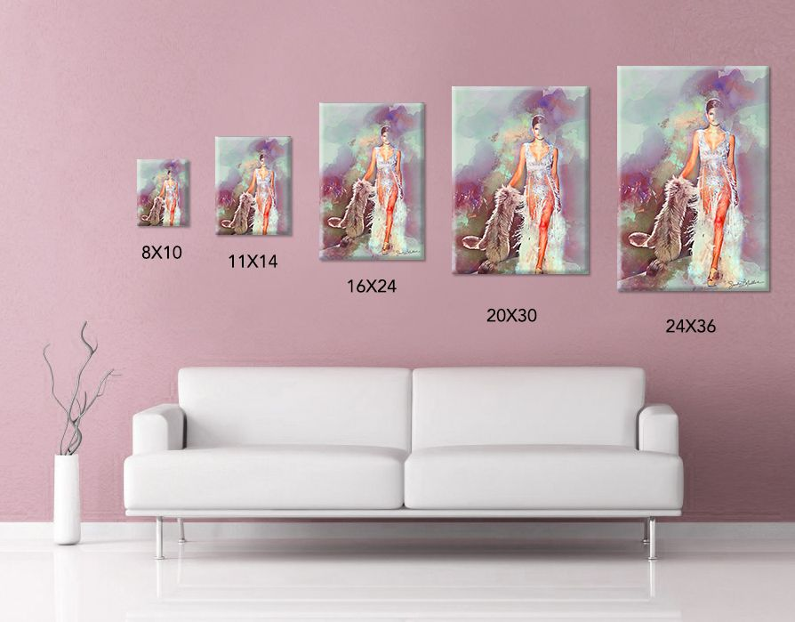 Showstopper I Fashion Runway Model Watercolor Style Wall Art Canvas Print Home Or Office Decor White Wall Art Canvas Prints Inkjet Printing Artist Canvas