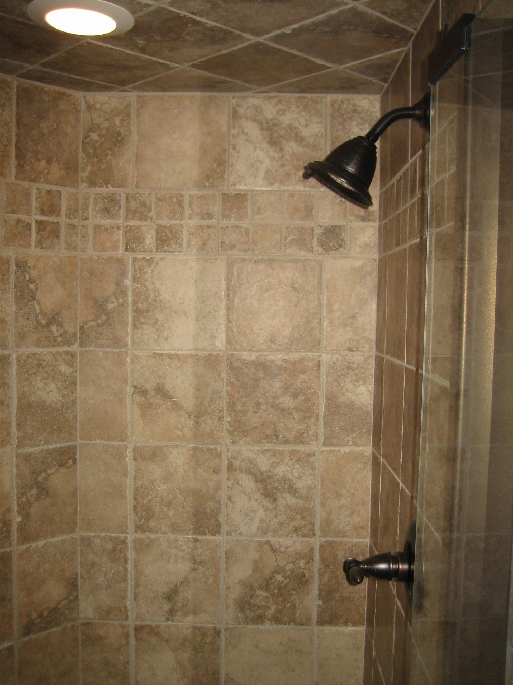 30 Great Pictures And Ideas Of Neutral Bathroom Tile: Shower With Band Insert-Ceiling Tile 2-2008