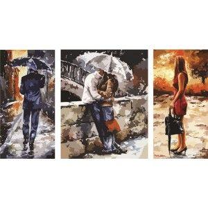 Под дождем Триптих Раскраска по номерам на холсте Color ...