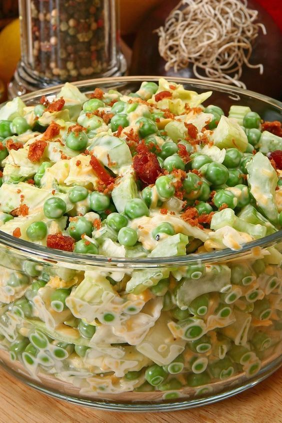 Green Pea Salad with Bacon and Cheese Recipe - mayonnaise, honey, sugar, celery,...