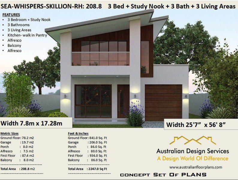 Narrow Skillion Roof House Plans Rh 208 M2 2247 Sq Feet Etsy In 2020 2 Storey House Design House Plans 2 Storey Skillion Roof