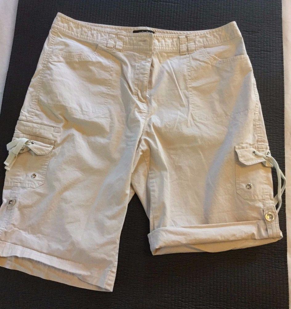Rafaella Casual Shorts Size 12 Khaki Adj Roll Tab Cotton Spandex Flat Zip Front #Rafaella #CasualShorts