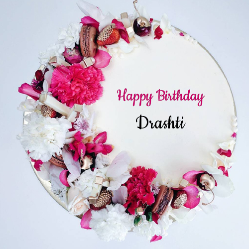 Name Birthday Wishes Cake With Flowers Decoration in 2020