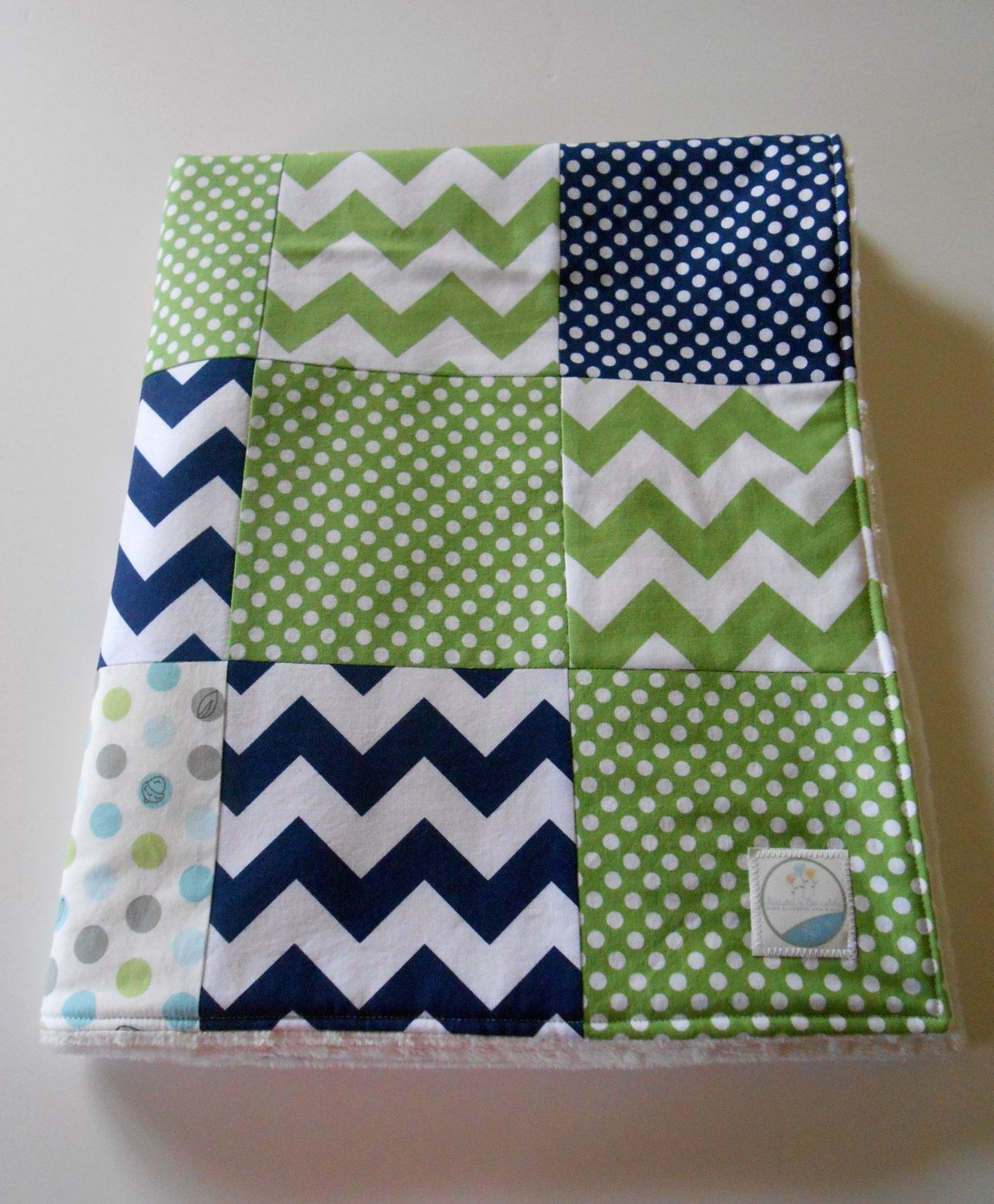Minky Baby Boy Patchwork Quilt Blanket Riley By