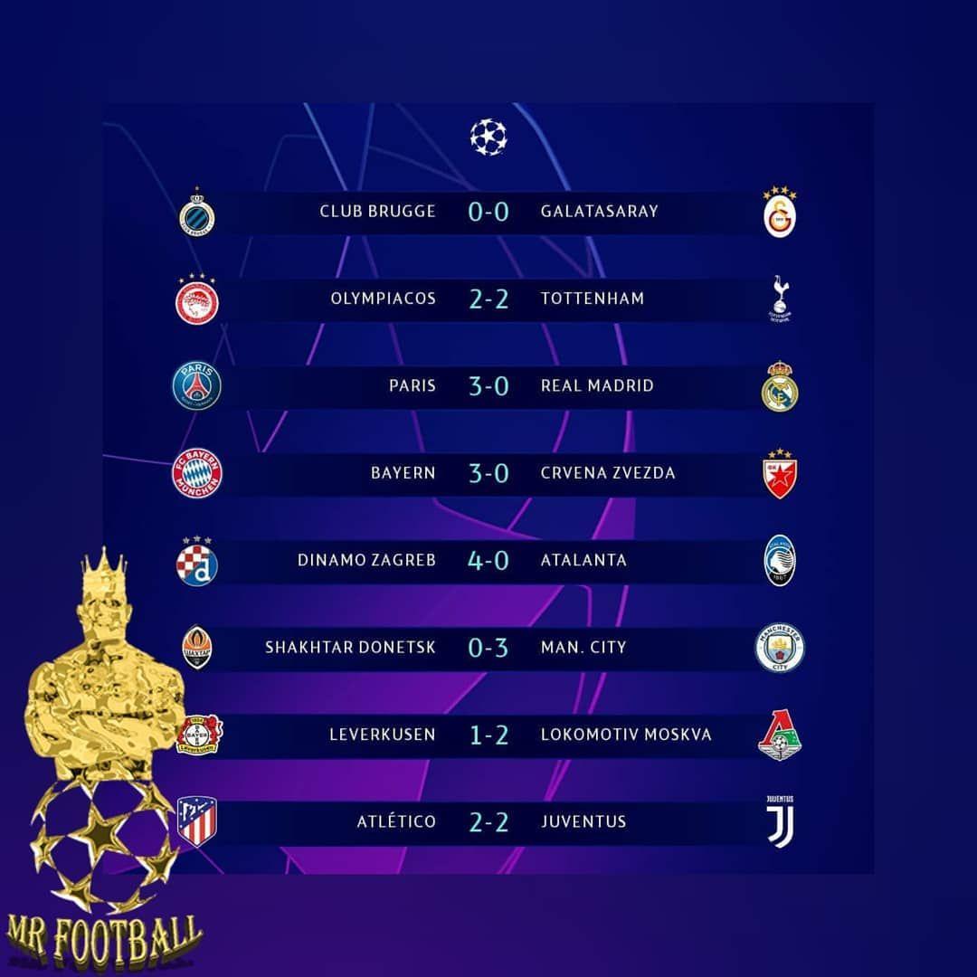 نتایج پایانی بازیهای روز دوم لیگ قهرمانان اروپا  #football_forever_ff  #football #soccer #sports #s...