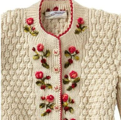 Vintage Knitting PATTERN Knitted Rose Embroidered Cardigan Sweater Floral Design