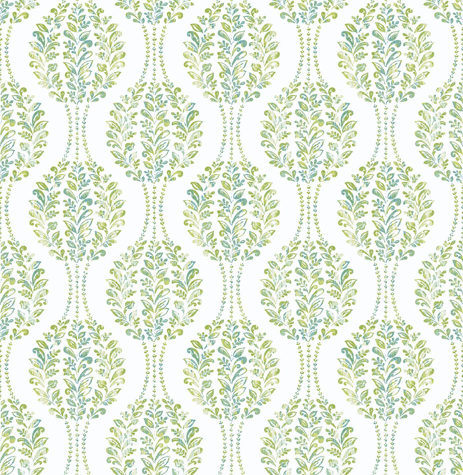 A-Street Prints Versailles Green Floral Damask Wallpaper
