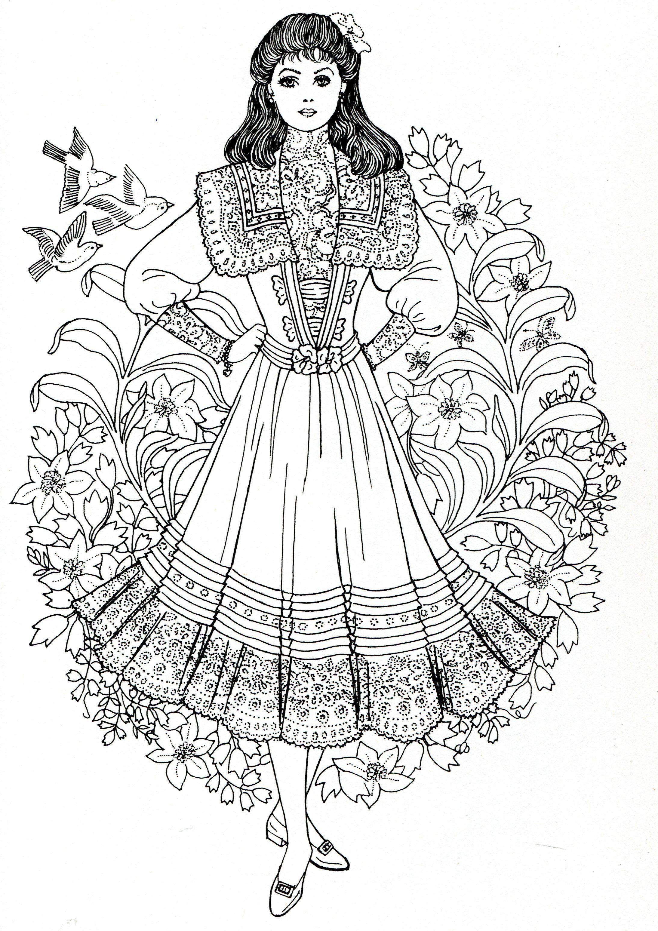 Art Nouveau Fashions for coloring | Coloring Pages | Pinterest ...