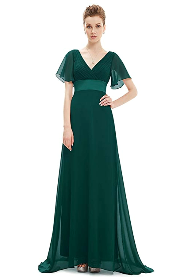 Photo of Short Sleeve V-Neck Long Evening Dress