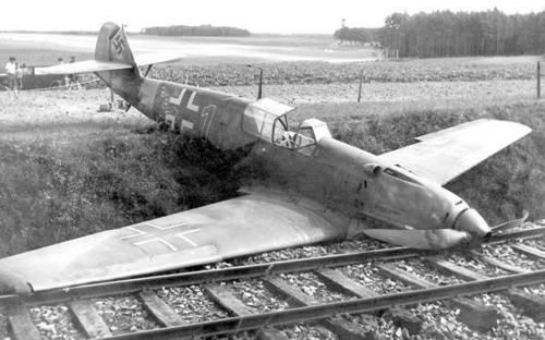 A shot down German Bf 109 fighter. *Note the early 2-blade design.