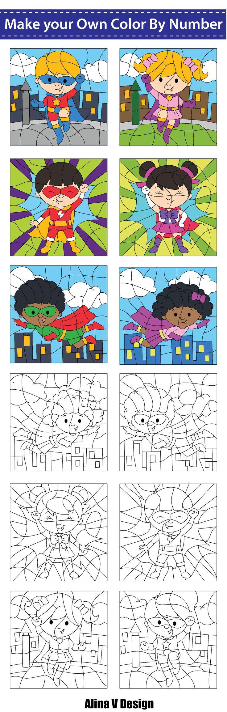 Make Your Own Color By Number, Color By Code - Superhero Theme ...
