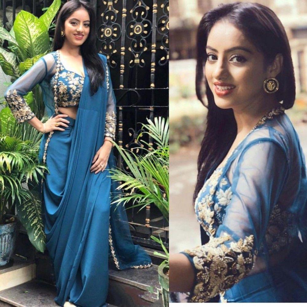 f1a4f9d09d265 Blue paper silk indowestern saree with koti in 2019