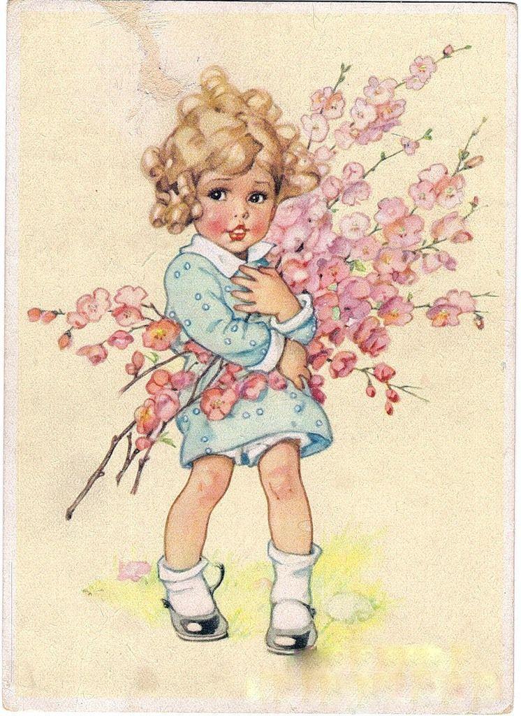 Открытка с днем рождения винтажная девочка, пожеланием доброго вечера