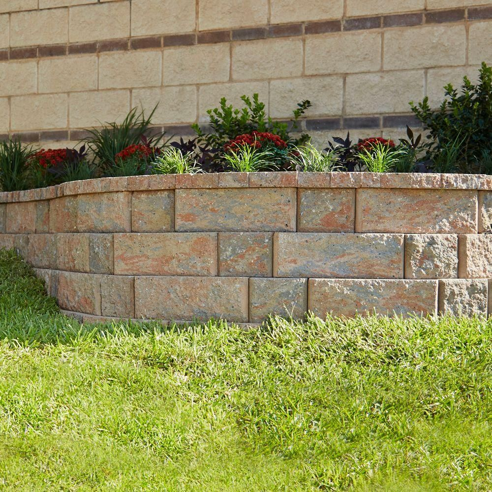 Pavestone Rockwall 4 In X 12 In Palomino Small Concrete Garden Wall Block 144 Pieces Per Pallet 8758 Concrete Retaining Walls Concrete Garden Garden Wall