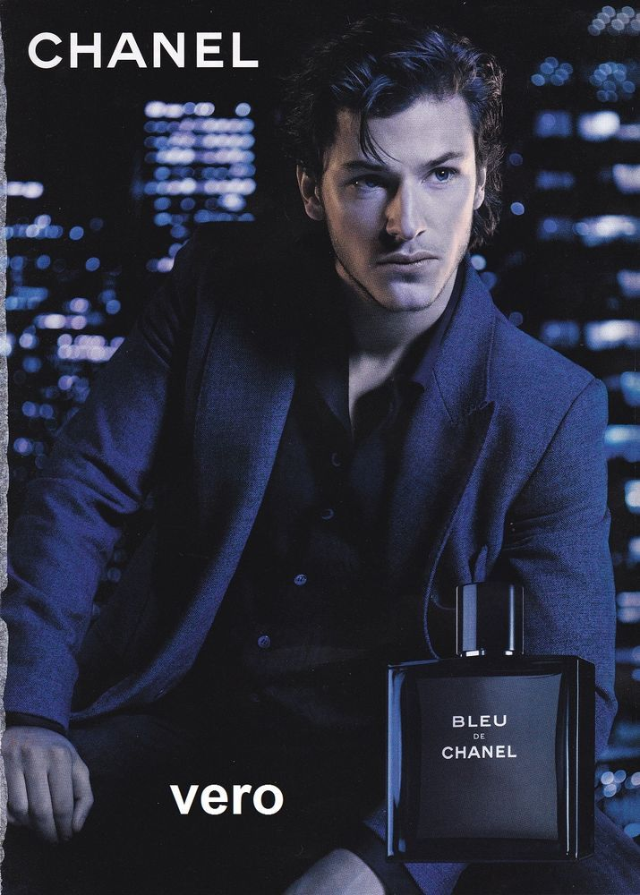 5f6eb118 2013 magazine ad CHANEL BLEU Fragrance Parfum open and sniff GASPARD ULLIEL