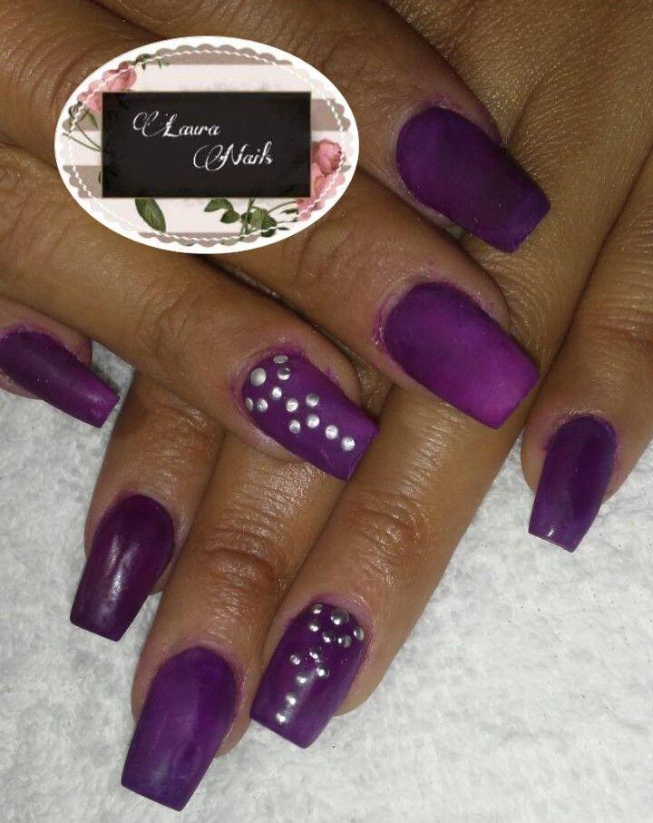 Uñas de acrílico color púrpura/matte | LAURA nails | Pinterest ...