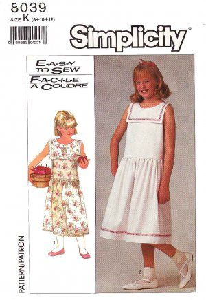 Simplicity Sewing Pattern 8039 Girls Size 8-12 Easy Classic Dropped ...