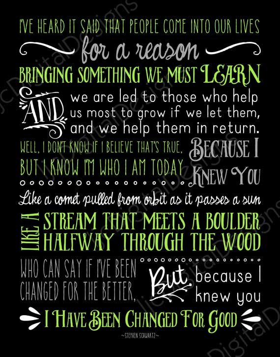 Printable Wicked Broadway Musical Lyrics For Good Digital Word Art