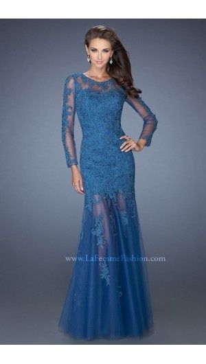 2014 La Femme Illusion Long Sleeved Deep Teal Prom Dress | Ball ...