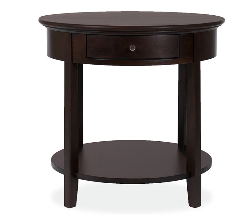 Eco-friendly and durable, the Henderson round end table is made of hardwood solids and veneers and finished in a café catalyzed oil based lacquer finish.