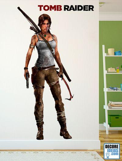 Adesivo Decorativo Games - Tomb Raider Lara Croft Super adesivo gigante da heroina de Tomb Raider, Lara Croft