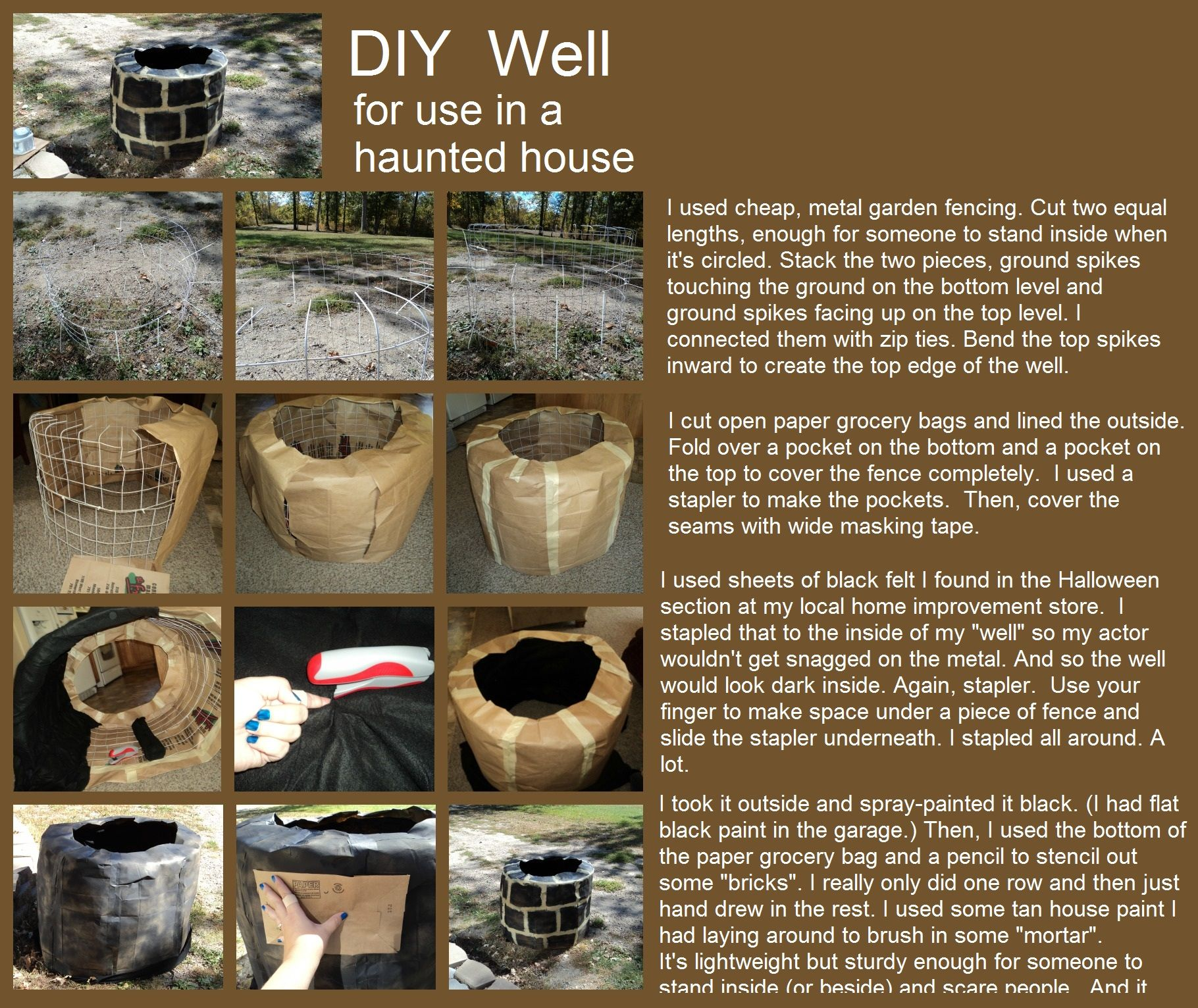 DIY scary well, for use in a haunted house / garage / yard