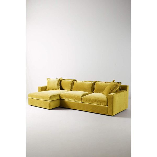 Anthropologie Velvet Katina Left Sectional ($3,598) ❤ Liked On Polyvore  Featuring Home, Furniture