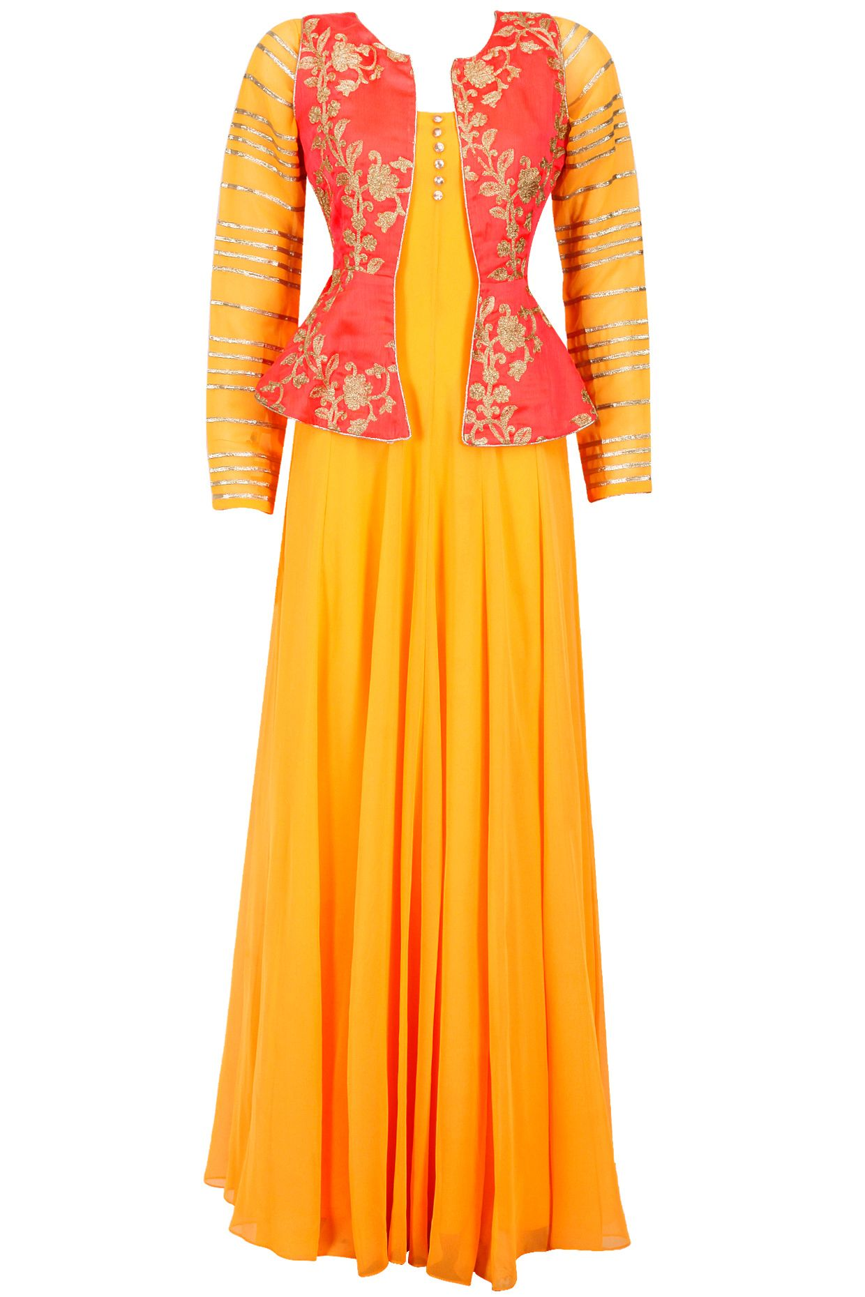 Neon coral embroidered koti with mango yellow gown available only at