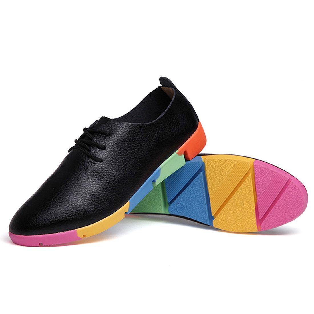 25bbccd11054 black white Rainbow Women Multicolor Sole Flat Cusp Genuine Leather Leisure  Pointedly Career Frenum Autumn Student Single Shoes