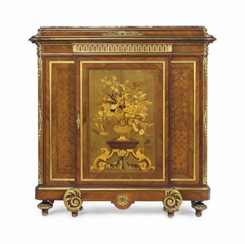 A FRENCH ORMOLU-MOUNTED KINGWOOD, BOIS SATINE, SYCAMORE AND