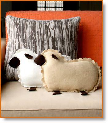 lamb pillows tutorial: http://www.purlbee.com/little-lamb-pillows/2010/3/12/mollys-sketchbook-little-lamb-pillows.html