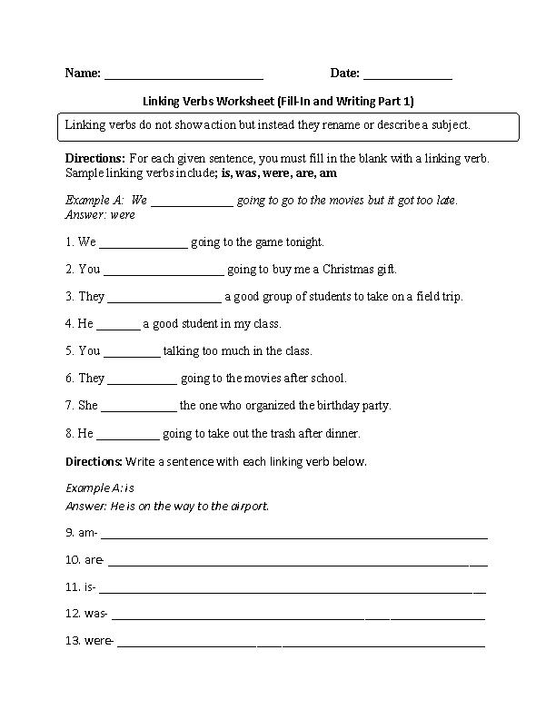 Practicing Linking Verbs Worksheet My Favorite Trips