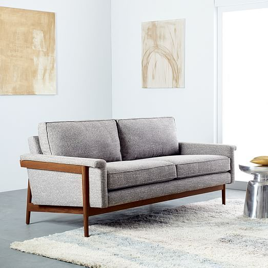 Leon Wood Frame Sofa 82quot Woods Living rooms and Condos