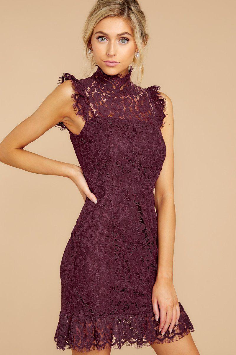 Learn To Love Wine Lace Dress Fall Wedding Guest Dress Wedding Attire Guest Fall Wedding Attire