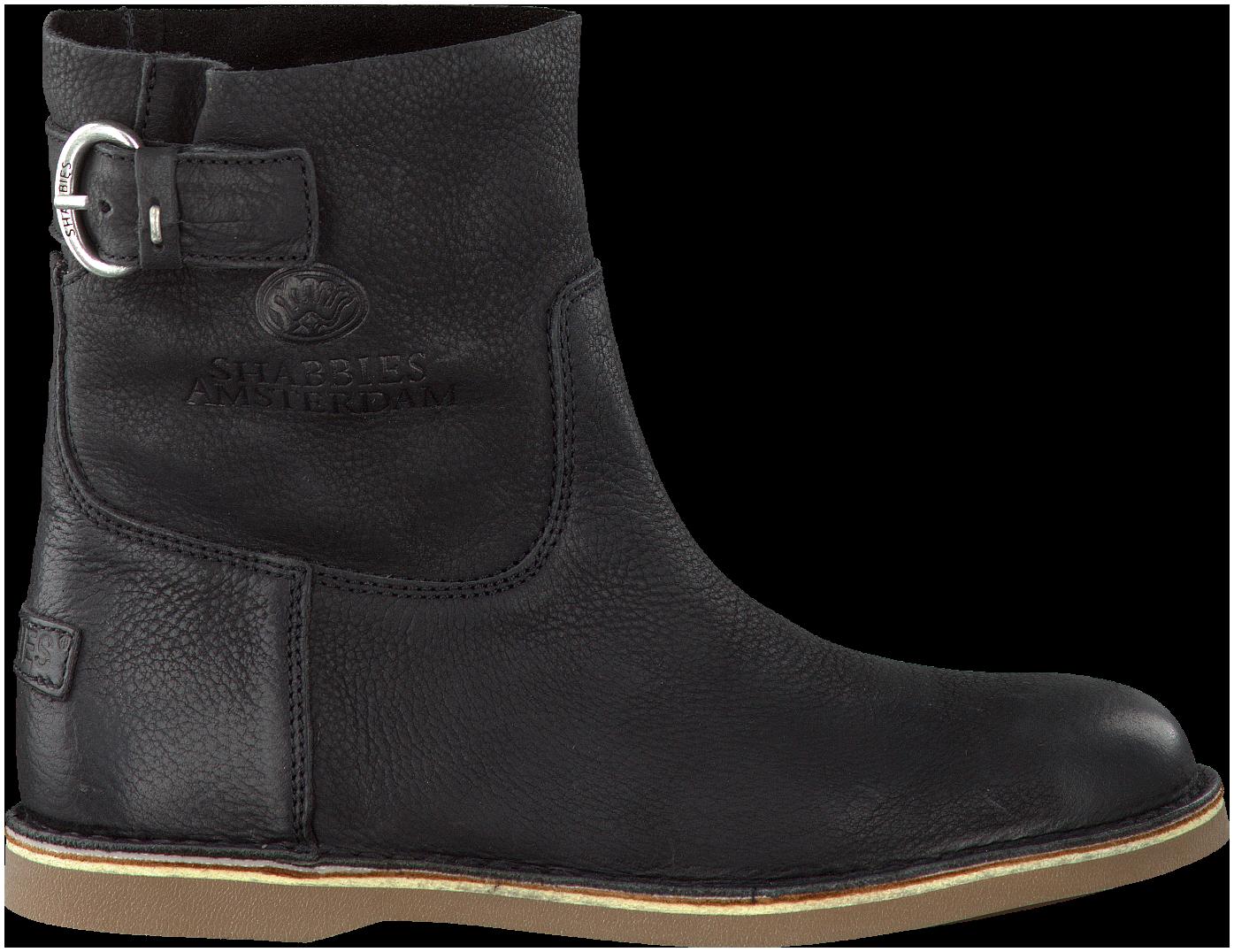 Zwarte SHABBIES Enkelboots 202052   Zwart, Laarzen, Zwarte