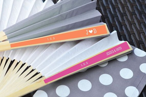 Personalized Colored Paper Fans Personalized by aboutthatwedding