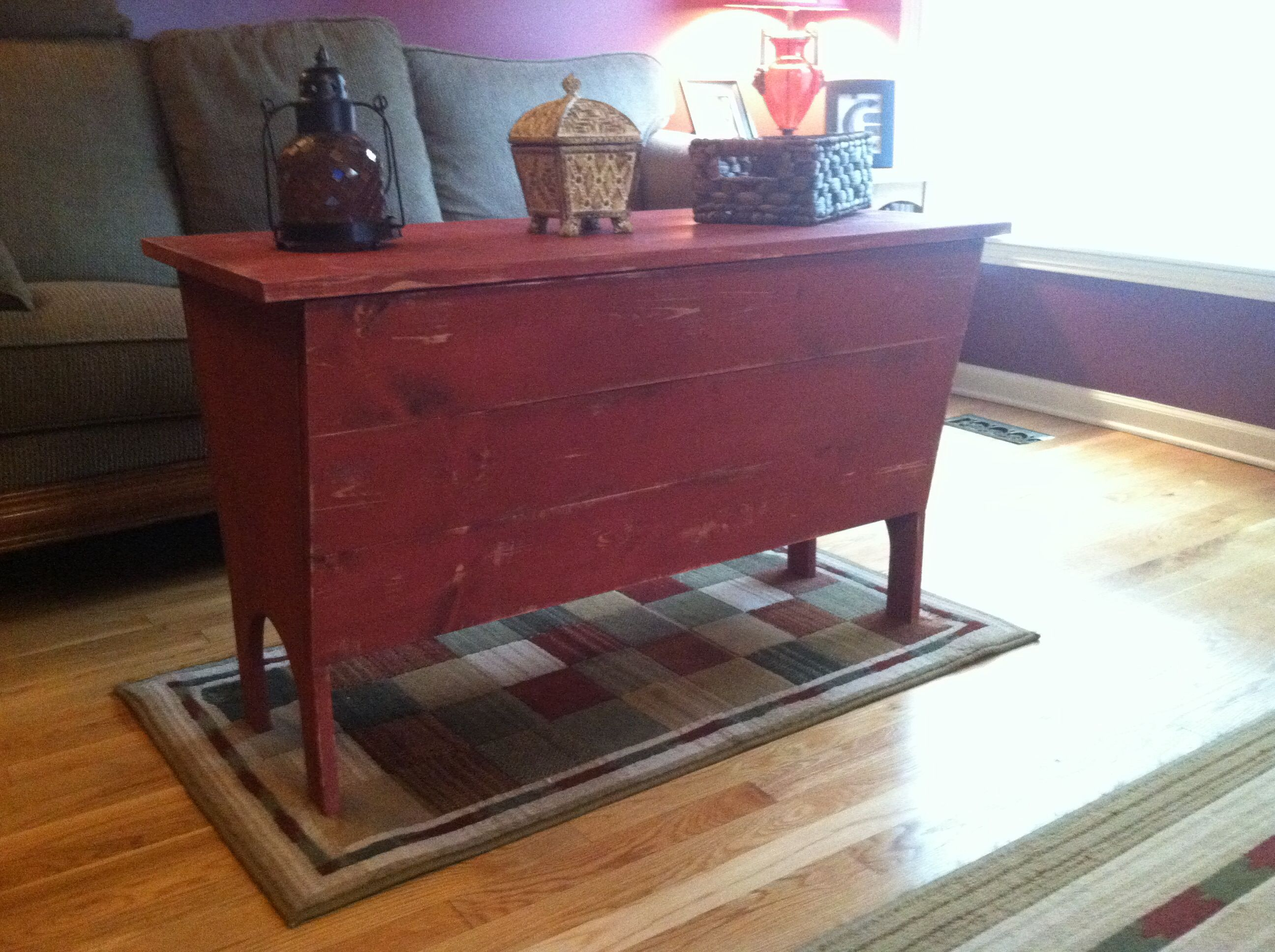 Dough Box Coffee Table. 38x24x18 Barn Red Distressed Chalk Paint Exterior  Finish With Stained Inside