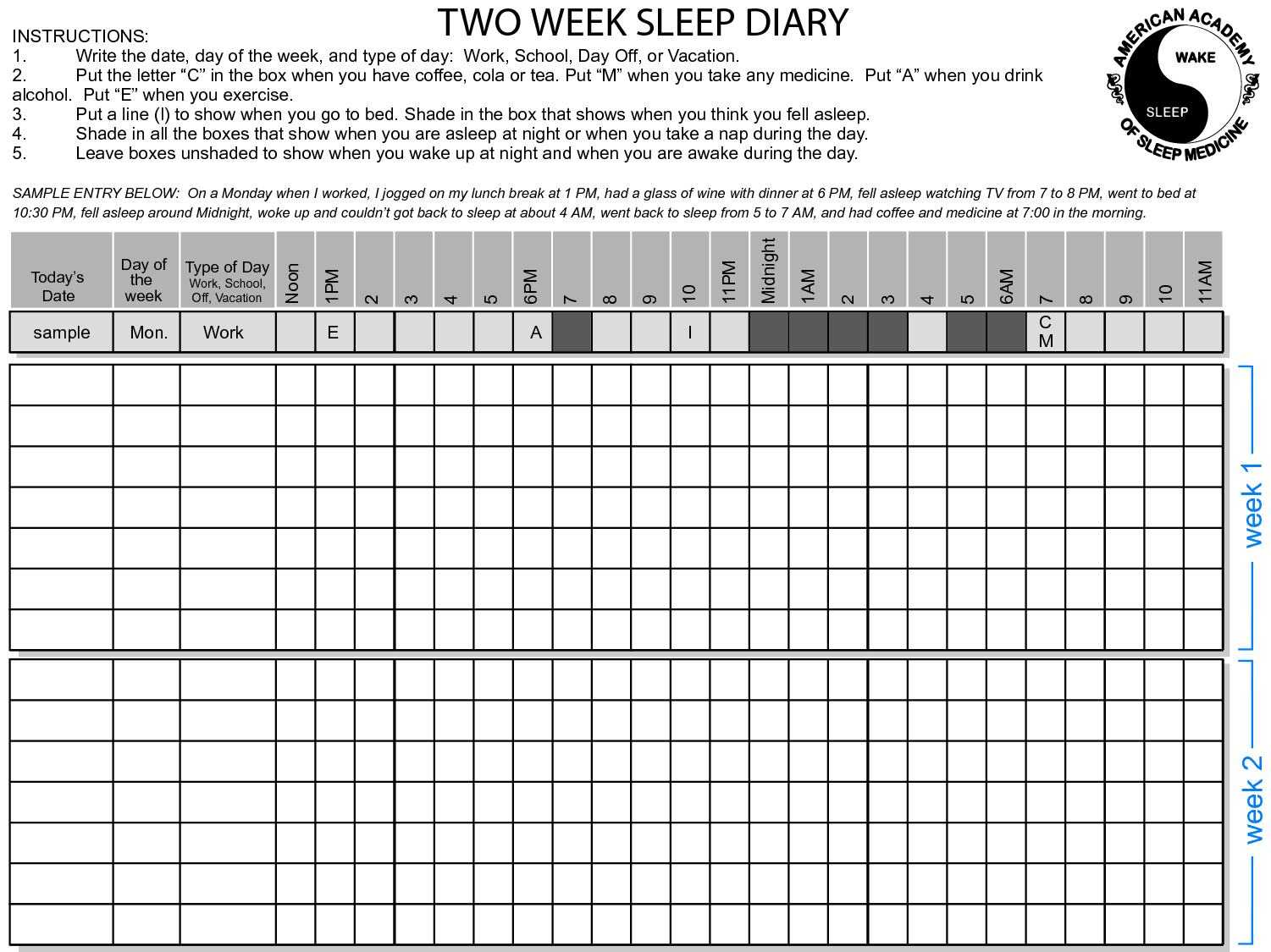 2 Week Sleep Diary
