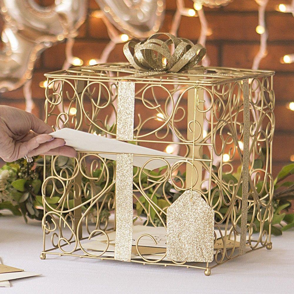 Gold scrolled metal wedding gift card box wedding gift