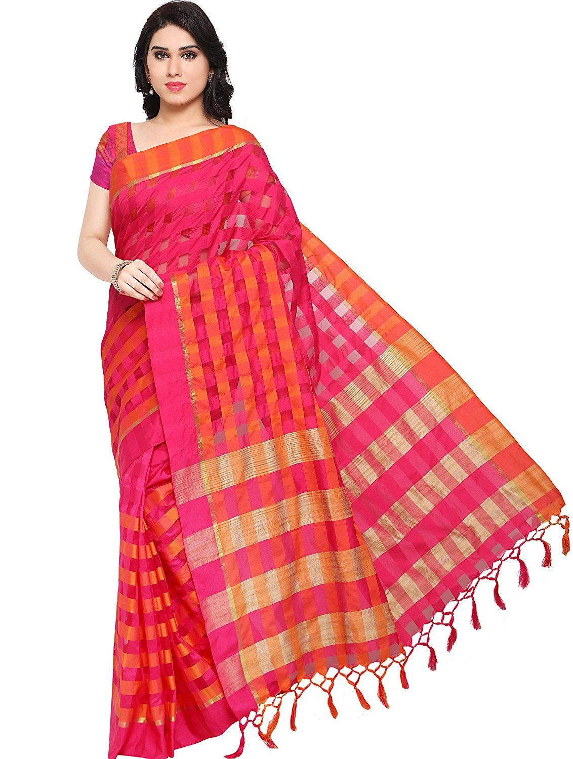 eaecb6d5efe3d2 Ethnicjunction Cotton Silk Saree (Ej1162-106 Pink)  Amazon.in  Clothing    Accessories