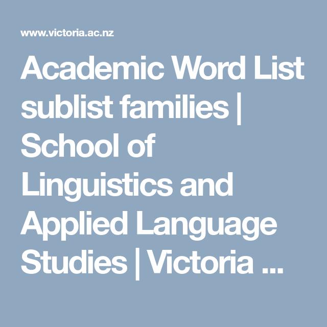 Academic Word List sublist families | School of Linguistics