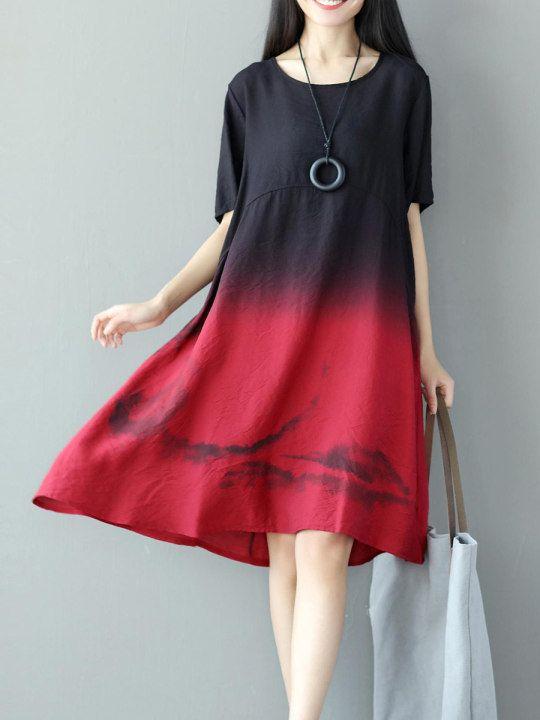 b75676a7c919 Round Neck Gradient Loose Maxi Dress - berrylook.com