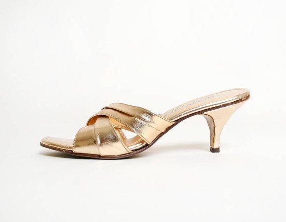 ebe1d60a5b167 Vintage 1960s Heels - Gold Leather Mule Style Slipper Heels - Kitten ...
