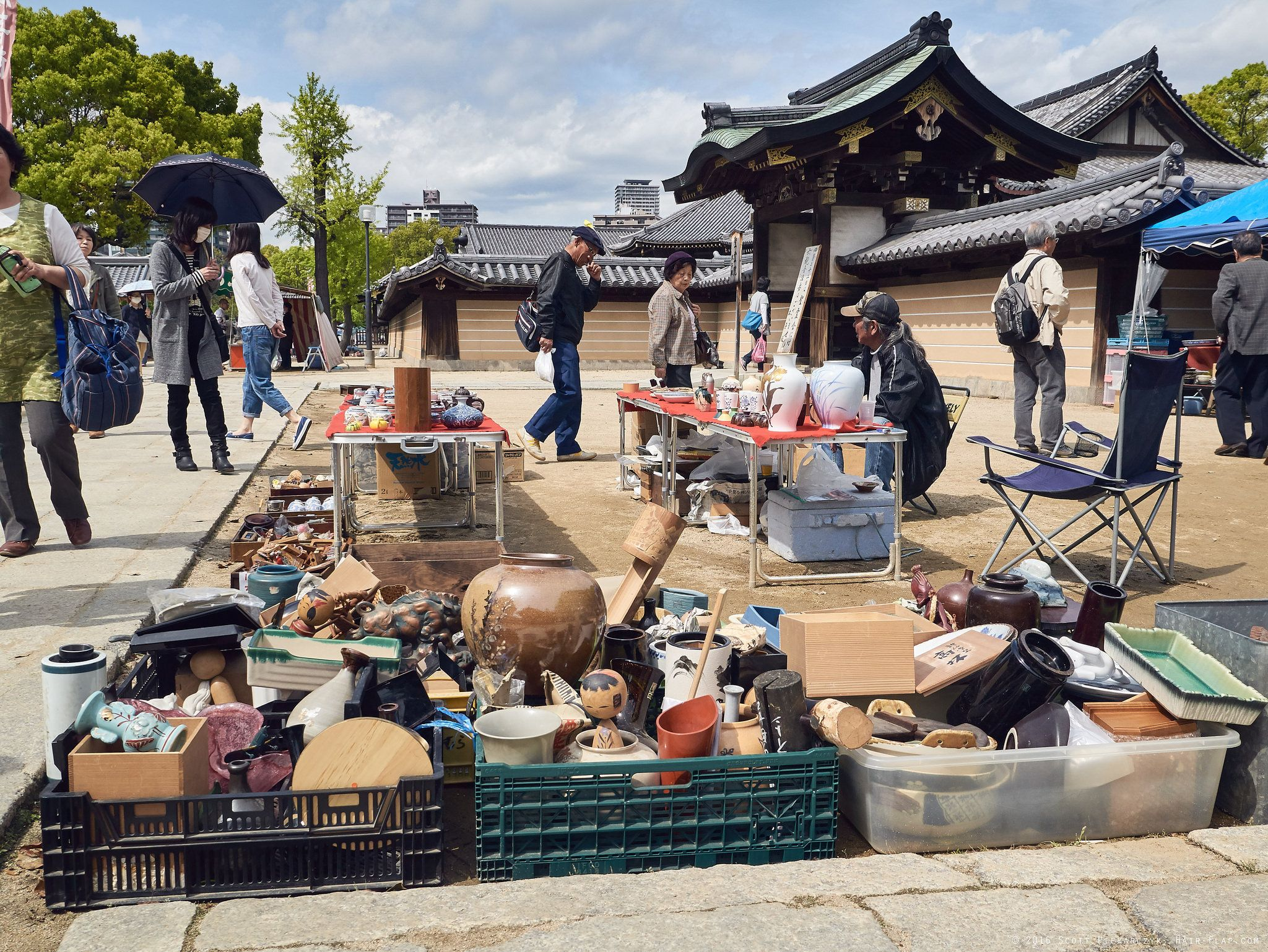 each month on 21th/22th is a flea market on the grounds of Shitennoji temple, Osaka