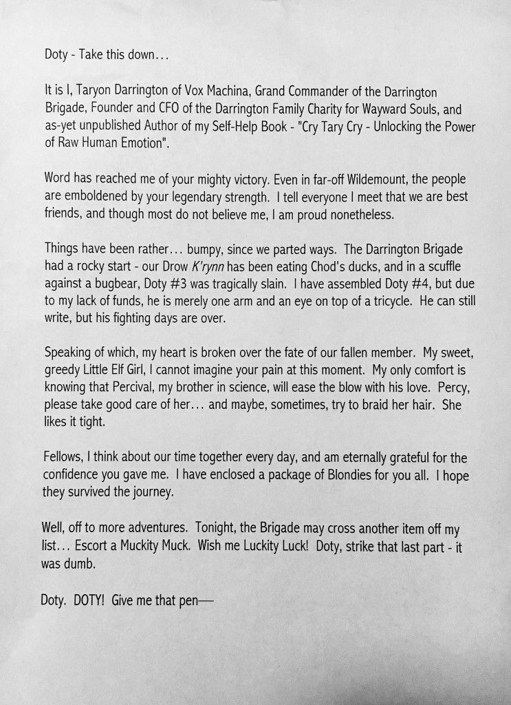 The letter that Sam (aka Scanlan/Tary) decided not to read on the