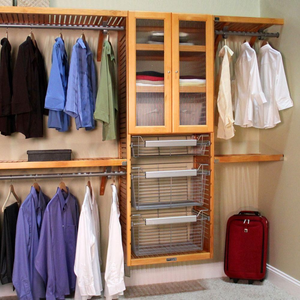 John Louis Home 16 In. Deep Deluxe Closet System In Honey Maple JLH 525    The Home Depot