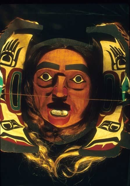 Transformation Mask, 20th century, Northwest Coast, North America. Wood, horsehair, abalone, paint. H 14 15/16 x W 12 9/16 x D 10 1/4 in. Peabody Museum of Archaeology and Ethnology, Harvard University Bequest of William R. Wright, 995-29-10/73518. L161.5.3.