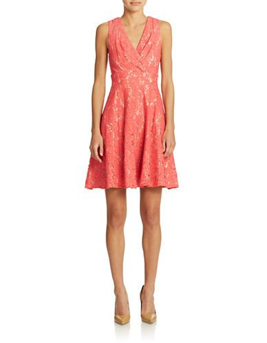 Plus V-Neck Fit and Flare Dress | Lord and Taylor | Coral ...